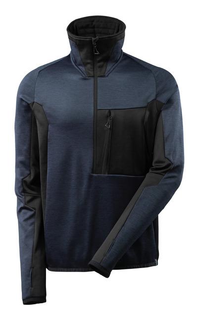 MASCOT® ADVANCED - mørk marine/sort - Fleecetrøje med kort lynlås, høj krave, moderne pasform