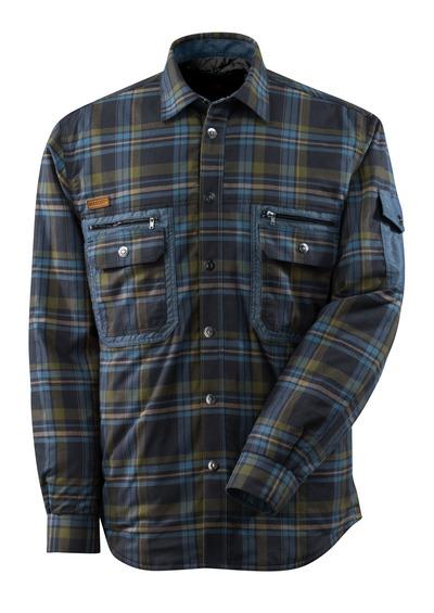 MASCOT® ADVANCED - mørk marine/stenblå* - Skjorte med fór af storternet flannel med CLIMASCOT®