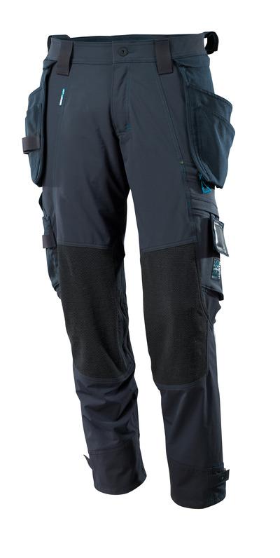 MASCOT® ADVANCED - mørk marine - Buks med aftagelige hængelommer, firevejs-stretch, lav vægt.