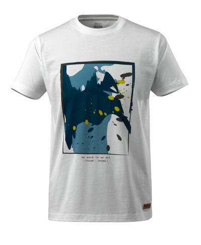 MASCOT® ADVANCED - hvid - T-shirt med bølgemotiv, moderne pasform