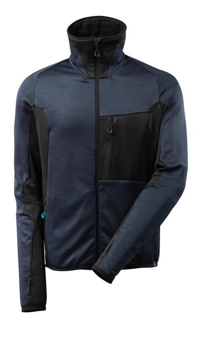 MASCOT® ADVANCED - mørk marine/sort - Fleecetrøje med lynlås, høj krave, moderne pasform