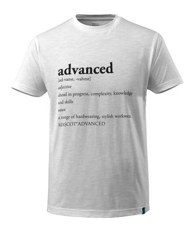 MASCOT® ADVANCED - hvid - T-shirt med ADVANCED-tekst, moderne pasform
