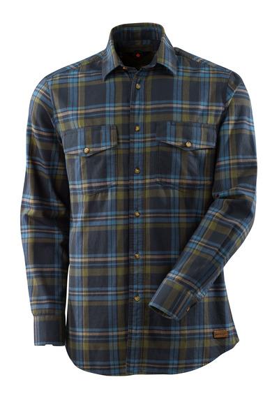 MASCOT® ADVANCED - mørk marine/stenblå - Skjorte af storternet flannel, moderne pasform