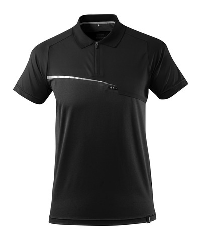 MASCOT® ADVANCED - sort - Poloshirt med brystlomme, svedtransporterende, moderne pasform