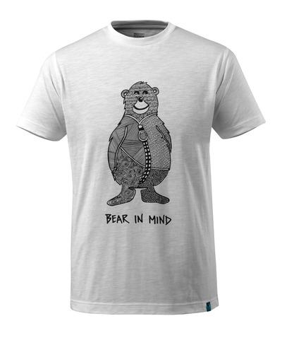 MASCOT® ADVANCED - hvid - T-shirt med bjørnelogo BEAR IN MIND, moderne pasform