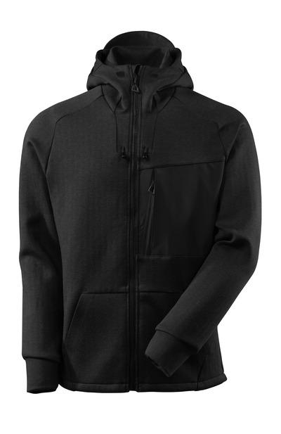 MASCOT® ADVANCED - sort-meleret/sort - Hættetrøje med lynlås, moderne pasform