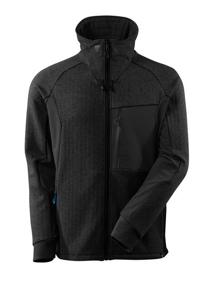 MASCOT® ADVANCED - sort-meleret/sort - Sweatshirt med lynlås, høj krave, moderne pasform
