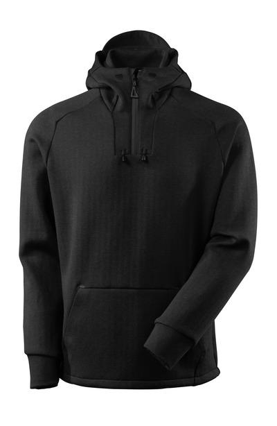 MASCOT® ADVANCED - sort-meleret/sort - Hættetrøje med kort lynlås, moderne pasform