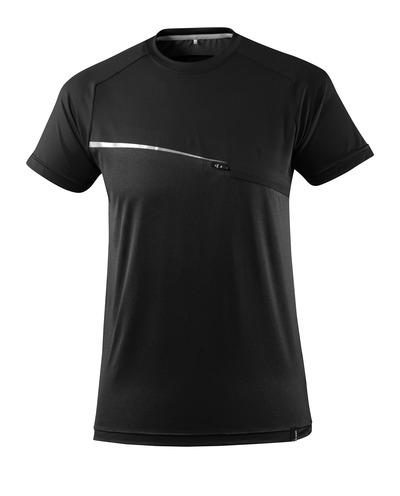 MASCOT® ADVANCED - sort - T-shirt med brystlomme, svedtransporterende, moderne pasform