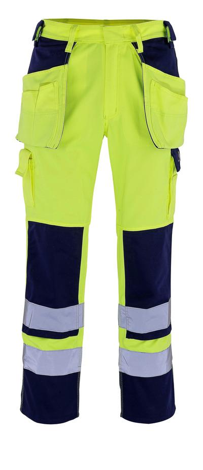MASCOT® Almas - hi-vis gul/marine - Bukser med knæ- og hængelommer, kl. 2