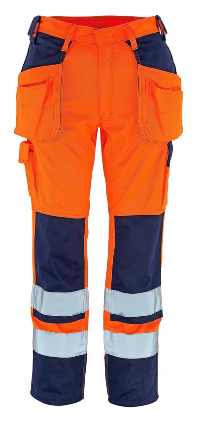 MASCOT® Almas - hi-vis orange/marine - Bukser med knæ- og hængelommer, kl. 2