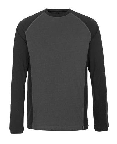 MASCOT® Bielefeld - mørk antracit/sort - T-shirt, langærmet, moderne pasform