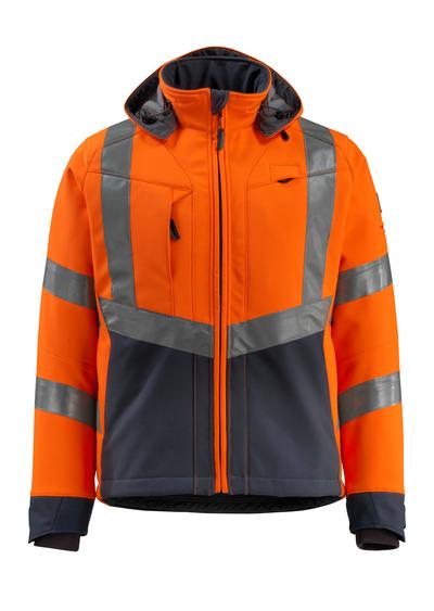 MASCOT® Blackpool - hi-vis orange/mørk marine - Softshelljakke, vandafvisende, fleece på indersiden, kl. 3