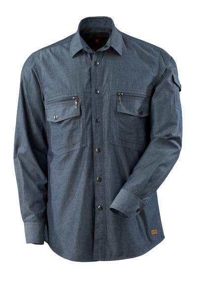 MASCOT® CROSSOVER - vasket mørkeblå denim - Skjorte chambray med netfór, moderne pasform