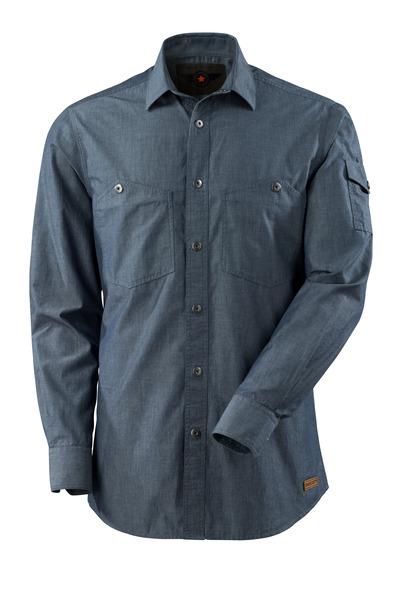MASCOT® CROSSOVER - vasket mørkeblå denim - Skjorte chambray, moderne pasform