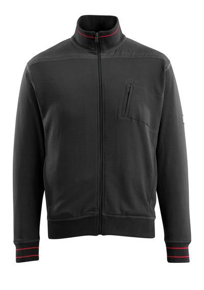 MASCOT® Chania - sort - Sweatshirt med lynlås, moderne pasform
