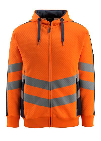 MASCOT® Corby - hi-vis orange/mørk marine - Hættetrøje, vaflet overflade, moderne pasform
