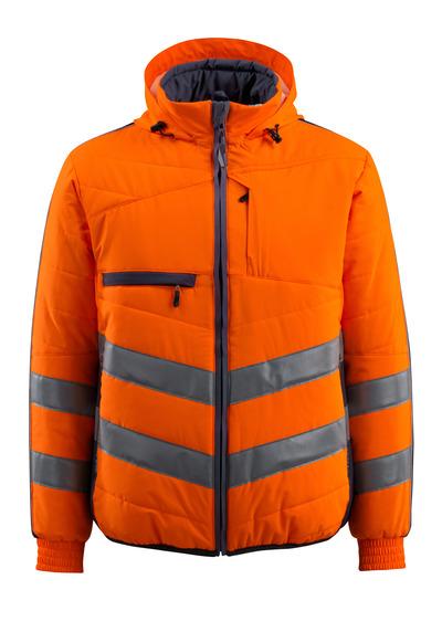 MASCOT® Dartford - hi-vis orange/mørk marine - Jakke med fór med hætte, vandafvisende, kl. 2