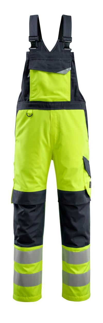 MASCOT® Davos - hi-vis gul/mørk marine - Overall med knælommer, multibeskyttelse, kl. 2
