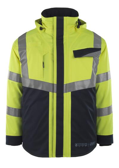 MASCOT® Emmen - hi-vis gul/mørk marine - Vinterjakke med quiltfór, vandtæt, multibeskyttelse, kl. 2