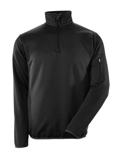 MASCOT® Estela - sort/mørk antracit - Polosweatshirt med lynlås, moderne pasform, svedtransporterende
