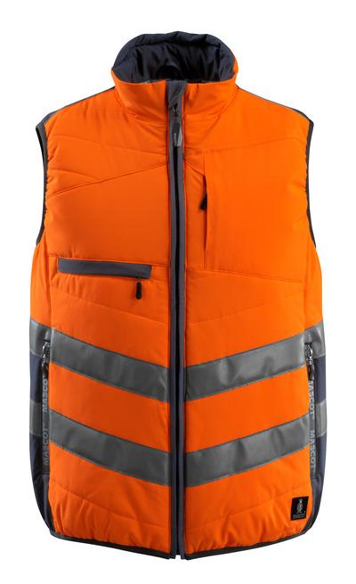 MASCOT® Grimsby - hi-vis orange/mørk marine - Vest, vatteret, vandafvisende, kl. 1