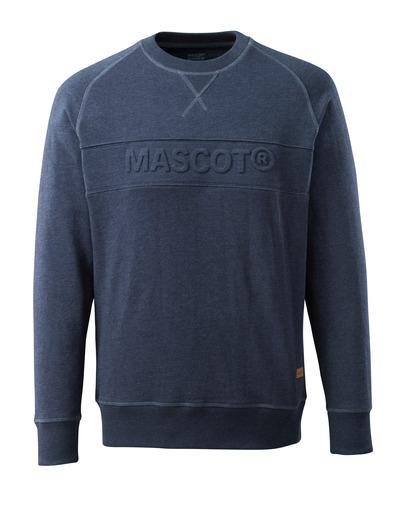 MASCOT® HARDWEAR - vasket mørkeblå denim* - Sweatshirt med indpræget MASCOT, moderne pasform