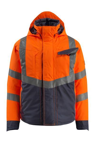 MASCOT® Hastings - hi-vis orange/mørk marine - Vinterjakke, vatteret, vandtæt, kl. 3