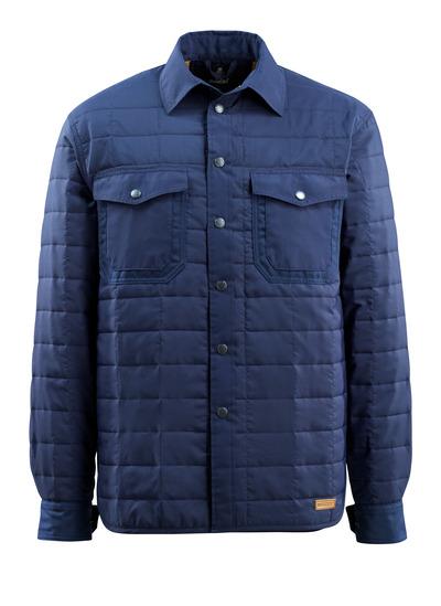 MASCOT® Hoboken - marine - Skjorte med fór med trykknapper