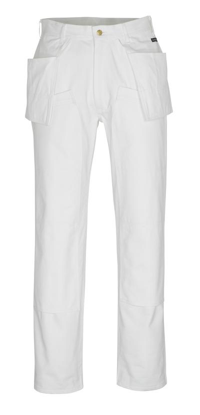 MASCOT® Jackson - hvid* - Bukser med knæ- og hængelommer