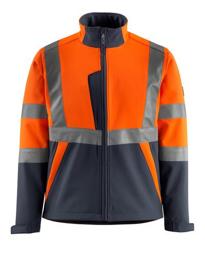 MASCOT® Kiama - hi-vis orange/mørk marine - Softshelljakke med fleece på indersiden, kl. 2