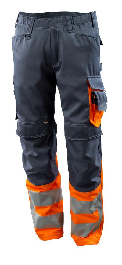 MASCOT® Leeds - mørk marine/hi-vis orange - Bukser med CORDURA®-knælommer, kl. 1
