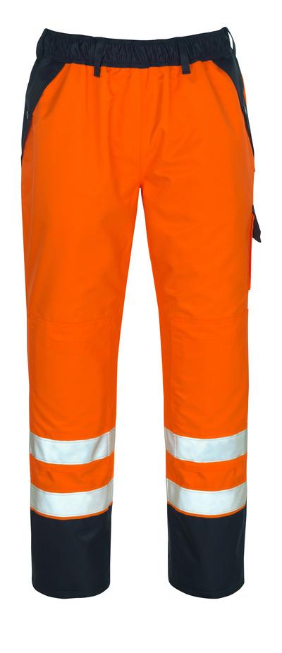 MASCOT® Linz - hi-vis orange/marine - Overtræksbuks med knælommer, vandtæt MASCOTEX®, kl. 1/2