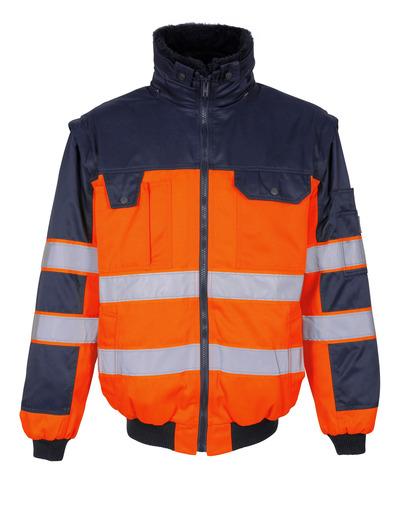 MASCOT® Livigno - hi-vis orange/marine - Pilotjakke med udtageligt pelsfór, vandafvisende, kl. 2