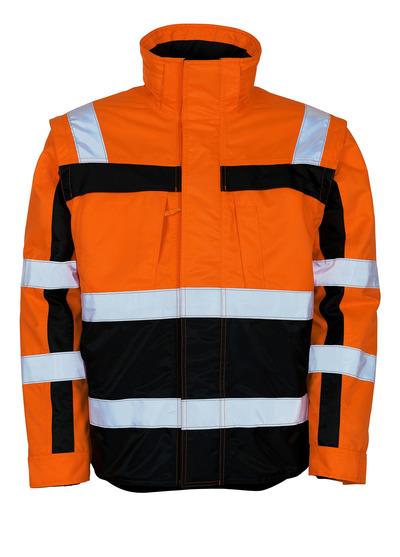 MASCOT® Loreto - hi-vis orange/marine - Vinterjakke med udtagelig termojakke, vandafvisende, kl. 3