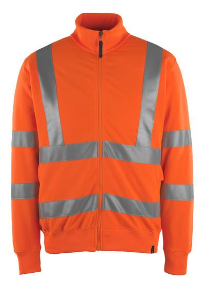 MASCOT® Maringa - hi-vis orange - Sweatshirt med lynlås, moderne pasform, kl. 3