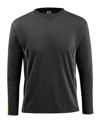 MASCOT® Montilla - sort/hi-vis gul - T-shirt med hi-vis kontrast, langærmet, moderne pasform