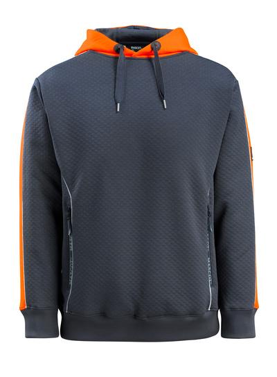 MASCOT® Motril - mørk marine/hi-vis orange - Hættetrøje med hi-vis kontrast, vaflet overflade, moderne pasform