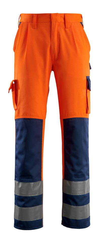 MASCOT® Olinda - hi-vis orange/marine - Bukser med knælommer, kl. 2