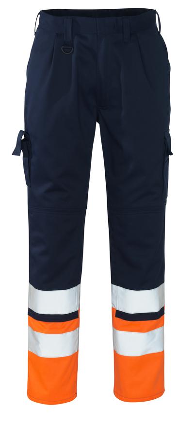 MASCOT® Patos - marine/hi-vis orange - Bukser med knælommer, kl. 1
