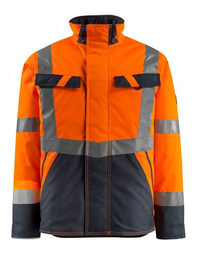MASCOT® Penrith - hi-vis orange/mørk marine - Vinterjakke med quiltfór, vandafvisende, kl. 3