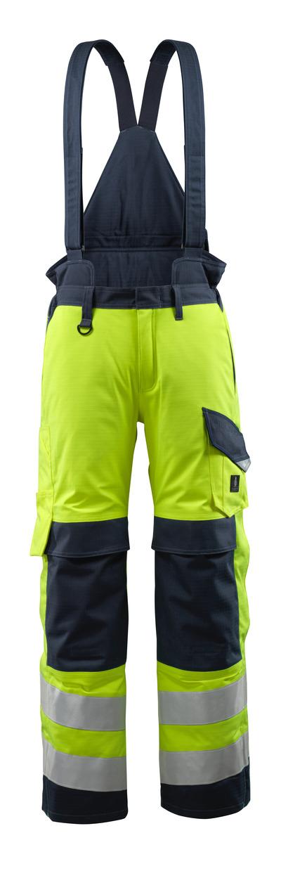 MASCOT® Renens - hi-vis gul/mørk marine - Vinterbukser med quiltfór og aftagelige seler, vandtæt, multibeskyttelse