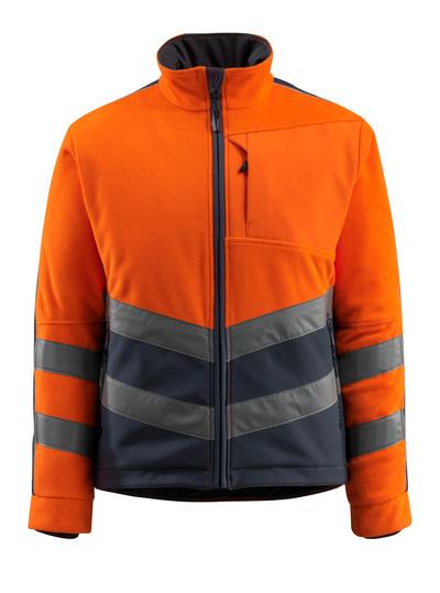 MASCOT® Sheffield - hi-vis orange/mørk marine - Fleeejakke med vatteret og vindtæt fór, vandafvisende, kl. 2