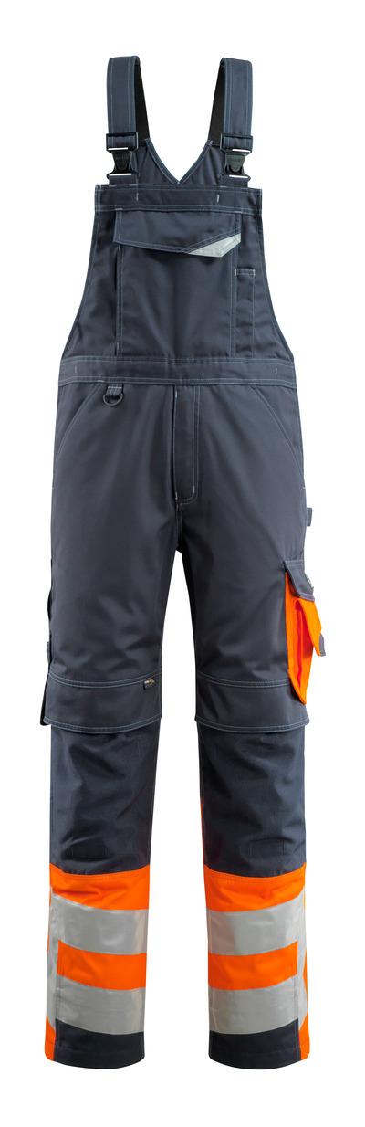 MASCOT® Sunderland - mørk marine/hi-vis orange - Overall med knælommer, kl. 1