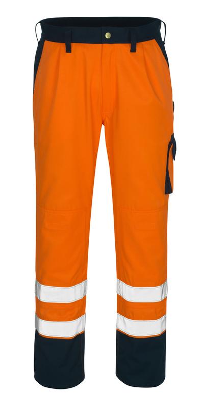 MASCOT® Torino - hi-vis orange/marine* - Bukser med knælommer, kl. 1/2