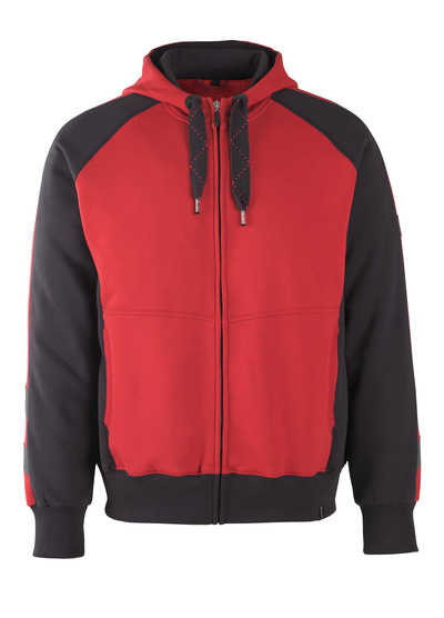 MASCOT® Wiesbaden - rød/sort* - Hættetrøje med lynlås, moderne pasform