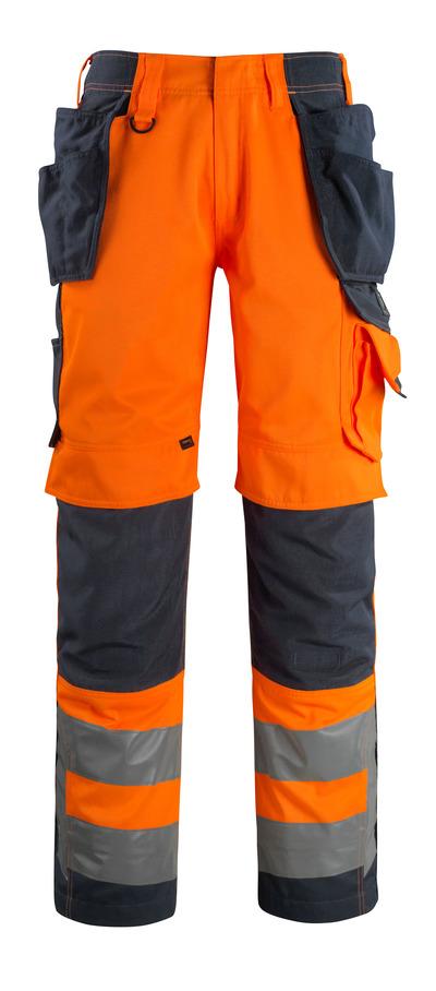 MASCOT® Wigan - hi-vis orange/mørk marine - Bukser med CORDURA®-knæ- og hængelommer, høj slidstyrke, kl. 2